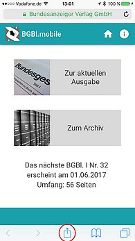 BGBl. mobile Web-App iPhone Startscreen und Optionen